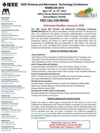 Submission Deadline: January 5, 2015