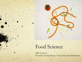 Food Science ABC Lesson 5 Functions of Ingredients:  Food Science & Alternatives