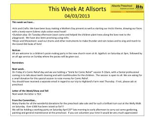 This Week At  Allsorts 04/ 03/2013