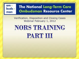 NORS TRAINING PART III