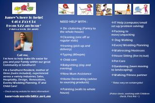 Janey's here to help! 0404 755 634 From $22 an hour* 7 days a week  (by appt)