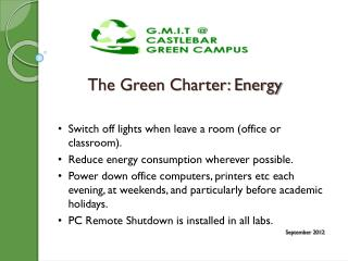 The Green Charter: Energy