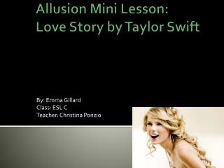 Allusion Mini  Lesson : Love Story by Taylor Swift