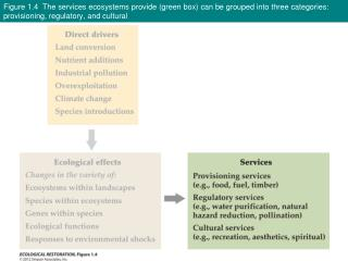 Figure 1.4  The services ecosystems provide (green box) can be grouped into three categories: provisioning, regulatory,
