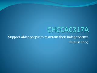 CHCCAC317A