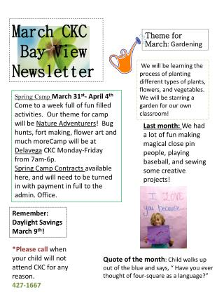 March CKC  Bay View Newsletter