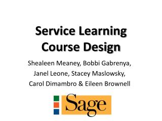 Service Learning  Course Design