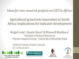 All African  Globelics  Seminar,  Tanzania 22 - 23 March 2012
