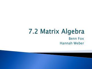 7.2 Matrix Algebra