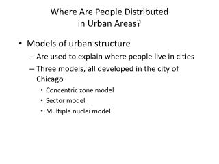 Where Are People Distributed  in Urban Areas?