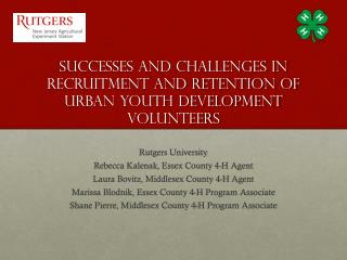 Successes and challenges in recruitment and retention of urban youth development volunteers