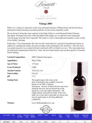bennett family reserve cabernet sauvignon 2003