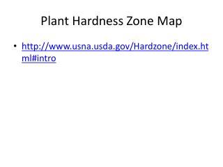 Plant Hardness Zone Map