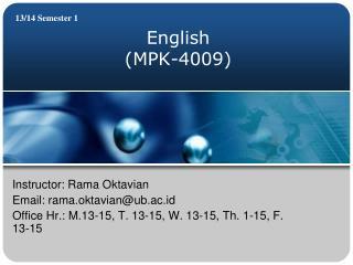 English ( MPK-4009 )