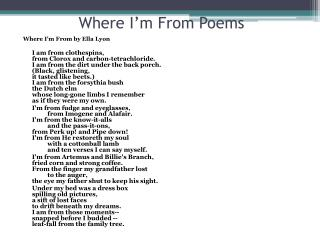 Where I'm From Poems