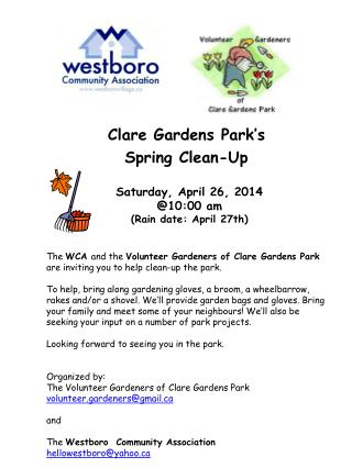 Clare Gardens Park's Spring Clean-Up