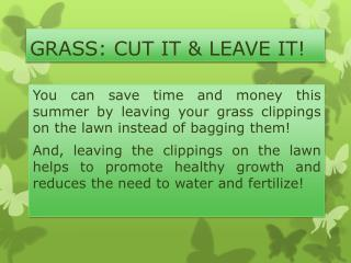 GRASS: CUT IT & LEAVE IT!