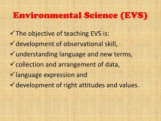 Environmental Science (EVS)