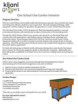 One  School One Garden Initiative