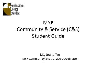 MYP  Community & Service (C&S) Student Guide