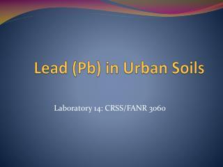 Lead ( Pb ) in Urban Soils