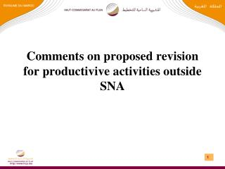 Comments on proposed  revision  for  productivive activities outside  SNA
