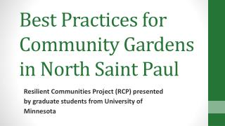 Best Practices for Community Gardens in North Saint Paul