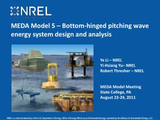 MEDA Model 5 – Bottom-hinged pitching wave energy system design and analysis