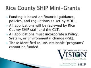 Rice County SHIP Mini-Grants