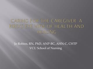 Caring for the Caregiver: A Bird's eye view of health and healing