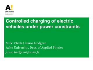 Controlled charging of electric vehicles under power constraints