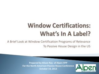 Window Certifications: What's In A Label?