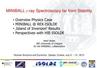 MINIBALL  g -ray Spectroscopy far from Stability Overview Physics C ase  MINIBALL @ REX-ISOLDE  'Island of Inversion'