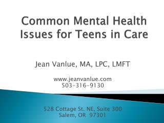 Common Mental Health Issues for Teens in Care