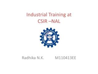 Industrial Training at CSIR –NAL