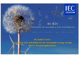 IEC  TC21  Committee  for Secondary  Cells  and  Batteries needs  your expertise to  write  the standard