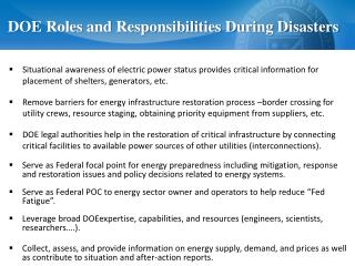 DOE Roles and Responsibilities During Disasters