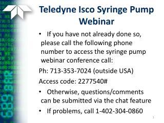 Teledyne Isco Syringe Pump Webinar