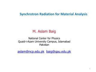 Synchrotron Radiation for Material Analysis