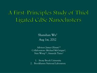 A First-Principles Study of  Thiol Ligated CdSe Nanoclusters