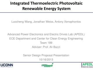 Integrated Thermoelectric Photovoltaic Renewable Energy System