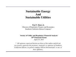 Sustainable Energy And Sustainable Utilities