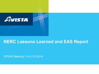 NERC Lessons Learned and EAS Report