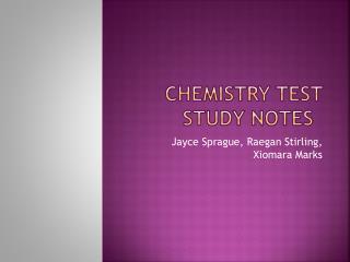 Chemistry test study notes