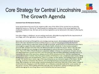 Core Strategy for Central Lincolnshire  The Growth Agenda
