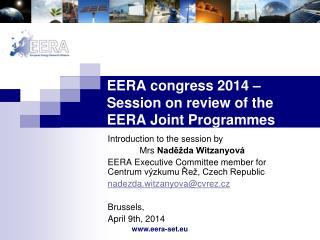 EERA congress 2014 – Session on review of the EERA Joint Programmes