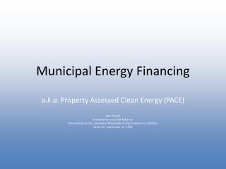 Municipal Energy Financing