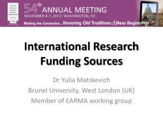 International Research Funding Sources
