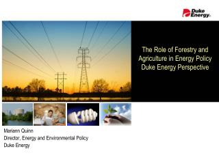 The Role of Forestry and Agriculture in Energy Policy Duke Energy Perspective