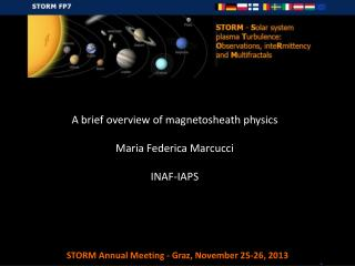 A brief  overview  of magnetosheath  physics Maria Federica Marcucci INAF-IAPS